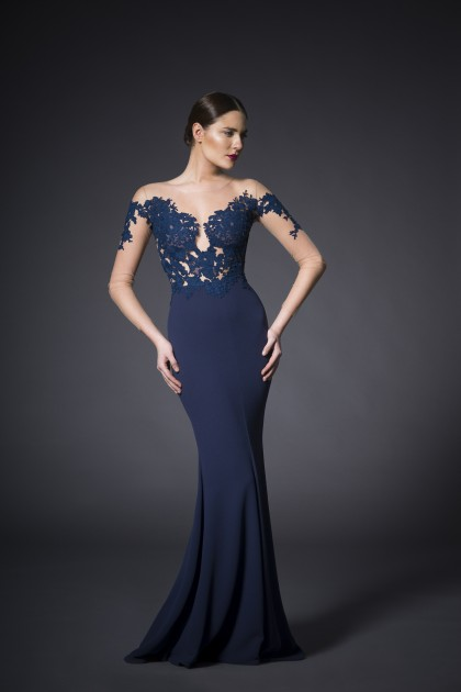 LOW BACK LONG FITTED DRESS