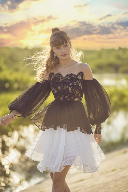 LACE EMBROIDERED SILK CHIFFON BLOUSE