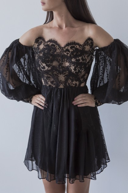 SHORT LACE SILK CHIFFON DRESS