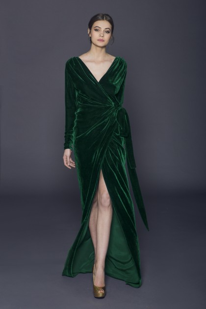 SILK VELVET LONG WRAPED DRESS