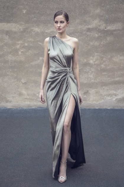 MUST-HAVE ONE-SHOULDER SILK LAME GOWN