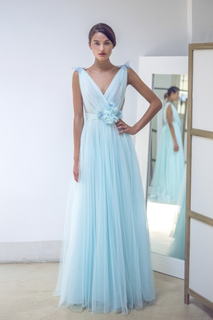 FAIRY SOFT BLUE TULLE, BODICE AND BUTTERFLIES GOWN