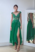 ASYMMETRICAL LACE SILK CHIFFON GOWN