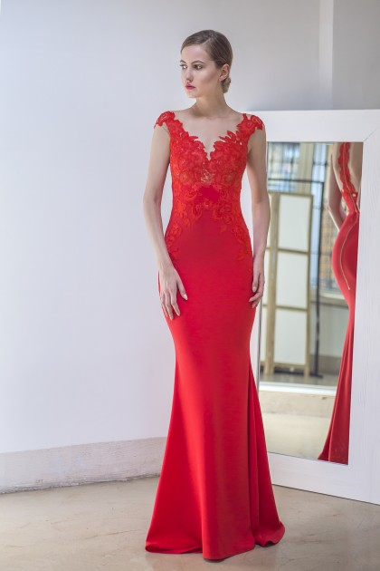 LACE AND CREPE GOWN