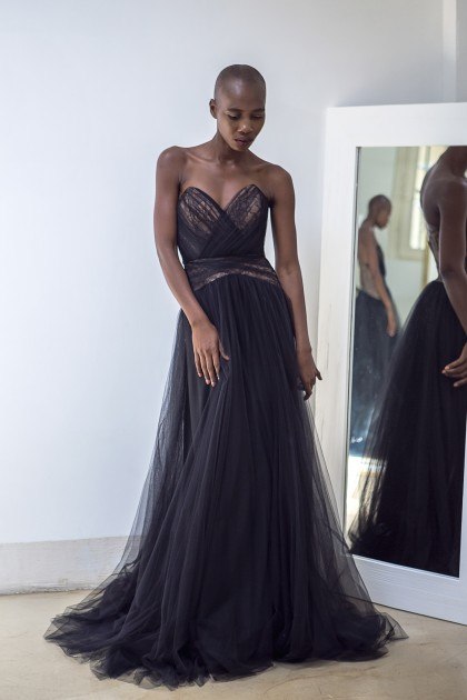 EVENING LAYERED TULLE BODICE DRESS